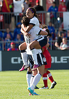02 June 2013:  U.S Women's National Team player Sydney Leroux #2 celebrates the win with U.S Women's National Team player Abby Wambach #20 during an international friendly soccer match between the U.S Women's National Team and the Canadian Women's National Team at BMO Field in Toronto, Ontario Canada.<br /> The U.S. National Women's Team won 3-0.