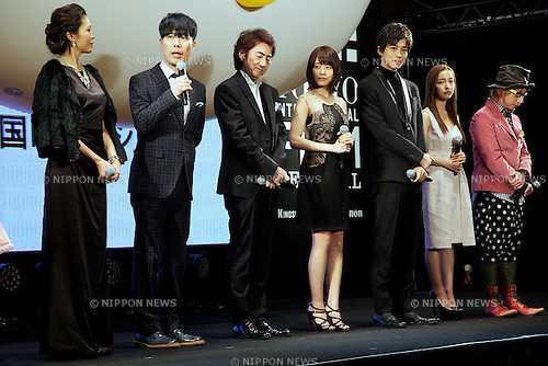 "Kei Aran, Takashi Fujii, Masachika Ichimura, Kasumi Arimura, Tori Matsuzaka, Tomomi Itano and Sebastian, Oct 29, 2014 : Tokyo, Japan : (L to R) Actress Kei Aran, actor Takashi Fujii, actor Masachika Ichimura, actress Kasumi Arimura, actor Tori Matsuzaka, actress Tomomi Itano and director Sebastian Masuda speak to the audience during the world premiere event of the movie ""The Nutcracker"" at TOHO CINEMAS in Roppongi on October 29, 2014, Tokyo, Japan. The 27th Tokyo International Film Festival which is the biggest cinematic festival in Tokyo has been held from October 23 to 31. (Photo by Rodrigo Reyes Marin/AFLO)"