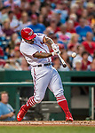 15 August 2017: Washington Nationals outfielder Howie Kendrick hits his 100th MLB career home run to lead off the 3rd inning and open the scoring against the Los Angeles Angels at Nationals Park in Washington, DC. The Nationals defeated the Angels 3-1 in the first game of their 2-game series. Mandatory Credit: Ed Wolfstein Photo *** RAW (NEF) Image File Available ***