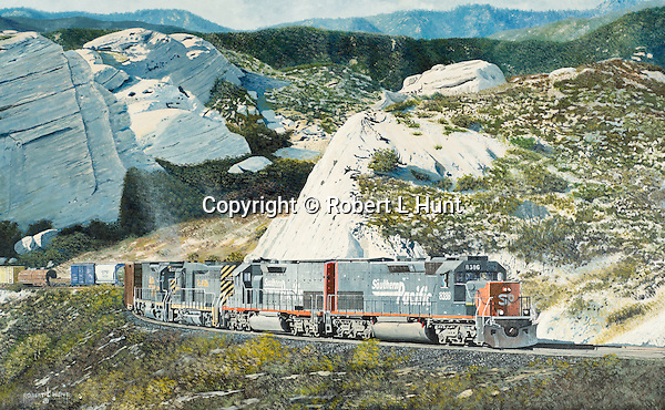 "Four Southern Pacific Railroad diesel locomotives climbing through Cajon Pass with a mixed freight train, approaching the head of Horsethief Canyon in the southern California mountains. Oil on canvas, 17"" x 27""."