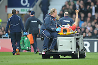 Sam Warburton of Wales leaves the field on a stretcher after taking a knock during the RBS 6 Nations match between England and Wales at Twickenham Stadium on Saturday 12th March 2016 (Photo: Rob Munro/Stewart Communications)