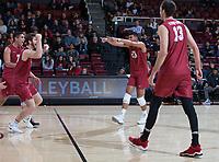 STANFORD, CA - March 3, 2018: Jaylen Jasper, Kevin Rakestraw, Mason Tufuga, Kyler Presho at Maples Pavilion. The Stanford Cardinal lost to Pepperdine, 3-0.