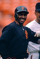 SAN FRANCISCO, CA:  Jose Uribe of the San Francisco Giants smiles during batting practice before a game at Candlestick Park in San Francisco, California in 1987. (Photo by Brad Mangin)