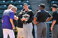Head coach Todd Interdonato of the Wofford Terriers before a SoCon Tournament game against Western Carolina on Wednesday, May 25, 2016, at Fluor Field at the West End in Greenville, South Carolina. Western won, 10-9. (Tom Priddy/Four Seam Images)