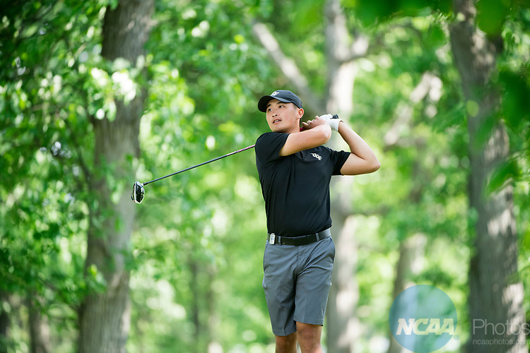 SUGAR GROVE, IL - MAY 29: Bobby Bai of the University of Central Florida tees off during the Division I Men's Golf Individual Championship held at Rich Harvest Farms on May 29, 2017 in Sugar Grove, Illinois. (Photo by Jamie Schwaberow/NCAA Photos via Getty Images)