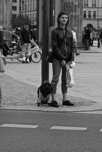 A woman and her dog. Berlin, Germany. Aug. 1, 2007.