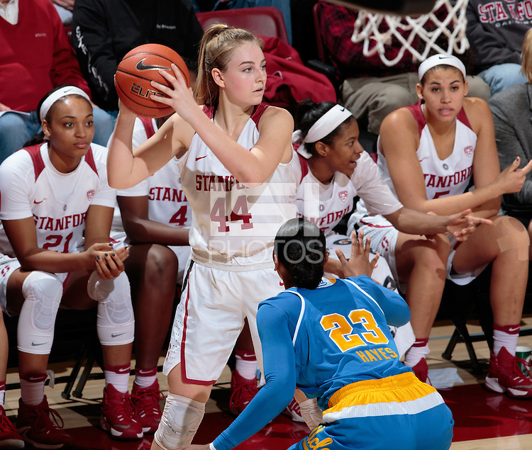 Stanford, CA - February 6, 2017:  Karlie Samuelson at Maples Pavilion. The Stanford Cardinal lost to UCLA, 85-76