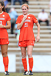 25 October 2015: Clemson's Abby Jones. The University of North Carolina Tar Heels hosted the Clemson University Tigers at Fetzer Field in Chapel Hill, NC in a 2015 NCAA Division I Women's Soccer game. UNC won the game 1-0.