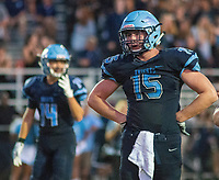 North Penn's RJ Macnamara #15 awaits a play call in the second quarter of the Neshaminy at North Penn footballgame Friday, August 23, 2019 at North Penn High School in Towamencin, Pennsylvania. (WILLIAM THOMAS CAIN / PHOTOJOURNALIST)