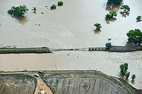 Flooding along St Vrain River in Weld County, Colorado near Platteville, Colorado