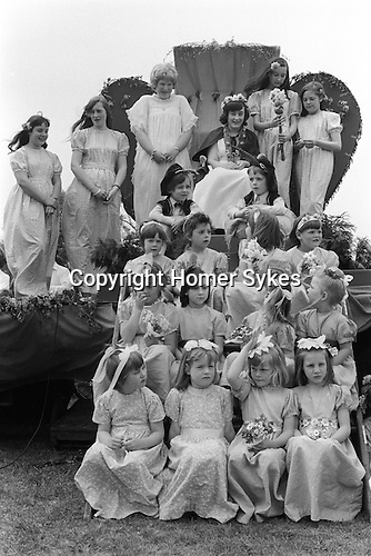 Ickwell May Queen  Bedfordshire Uk 1973.The May Queen is Miss Shirley Fraser.<br />