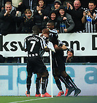 Jack Colback of Newcastle United is mobbed by team mates following his opening goal - Newcastle United vs. Stoke City - Barclay's Premier League - St James' Park - Newcastle - 08/02/2015 Pic Philip Oldham/Sportimage