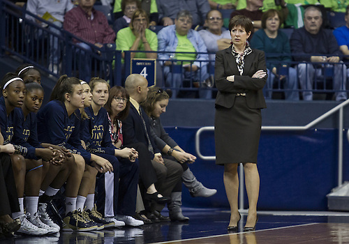 November 20, 2012:  Notre Dame head coach Muffet McGraw during NCAA Women's Basketball game action between the Notre Dame Fighting Irish and the Mercer Bears at Purcell Pavilion at the Joyce Center in South Bend, Indiana.  Notre Dame defeated Mercer 93-36.