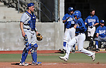 Western Nevada's Tyler Baker scores during a college baseball game against Salt Lake Community College in Carson City, Nev., on Friday, March 1, 2013..Photo by Cathleen Allison
