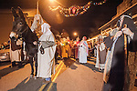 Sutter Creek's annual interfaith Procession of Las Posadas down the side streets and Main Street of Sutter Creek on a winter's evening.<br /> <br /> Las Posadas symbolizes the trials which Mary and Joseph endured before finding a place to stay where Jesus could be born, based on the passage in the New Testament, the Gospel of St. Luke, 2:1-9.