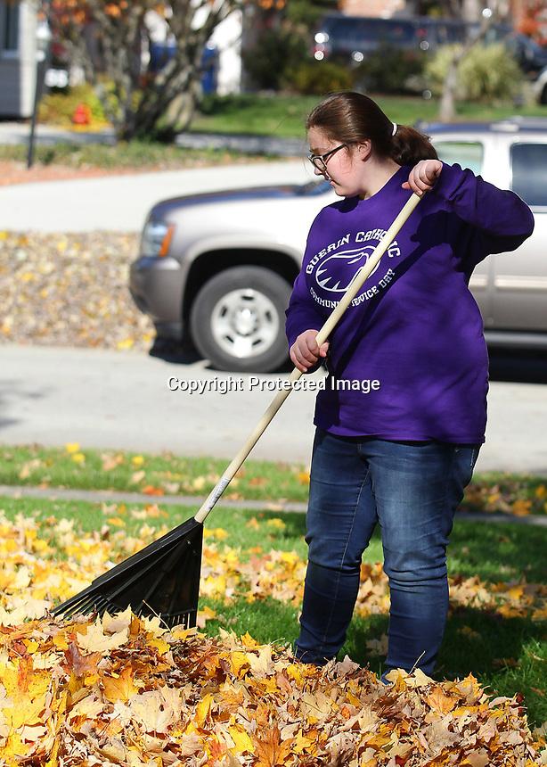 Reece Ferguson rakes leaves in a residential section of Noblesville.