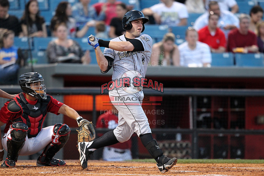 Omaha Storm Chasers third baseman Mike Moustakas #8 at bat during a game against the Nashville Sounds at Greer Stadium on April 25, 2011 in Nashville, Tennessee.  Omaha defeated Nashville 2-1.  Photo By Mike Janes/Four Seam Images
