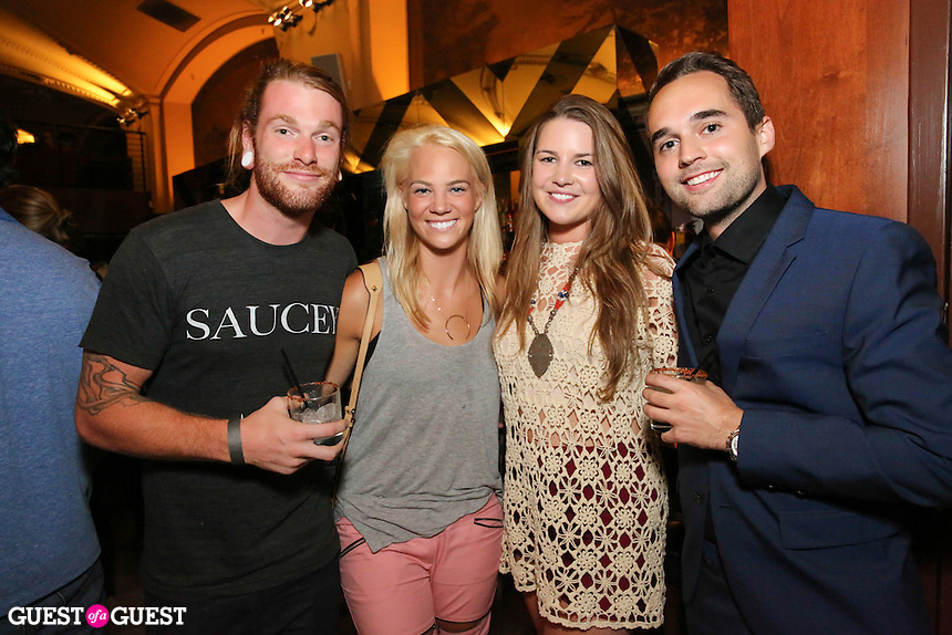 Andrew Zeck, Cassy Dittmer, Alison Meagher-Manson, Matt Labinski attend the Ludlows Jelly Shots Cocktail Crawl at Mas Malo on August 27, 2014.