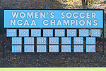 20 November 2016: A sign at the field details the 21 NCAA Women's Soccer Championships and one AIAW  (pre-NCAA) championship won by North Carolina. The University of North Carolina Tar Heels played the Clemson University Tigers at Fetzer Field in Chapel Hill, North Carolina in a 2016 NCAA Division I Women's Soccer Tournament Third Round match. UNC won the game 1-0.