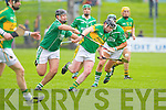 Lixnaw's Pat Corridan keeps Ballyduff's Gary O'Brien at bay in the Senior County Championship Final at Austin Stack park, Tralee on Sunday.