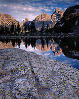Sunset light on the Teton Range and Lake Solitude in Cascade Canyon; Grand Teton National Park, WY
