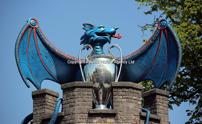 Pictured: A blue dragon and the trophy on top Cardiff Castle Thursday 25 May 2017<br />Re: Preparations for the UEFA Champions League final, between Real Madrid and Juventus in Cardiff, Wales, UK.