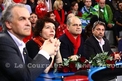 Genève, le 13.03.2011.Elections Municipales..Rémy Pagani; Sandrine Salerno; Sami Kanaan; et Boris Drahuzak..© Jean-Patrick Di Silvestro / Le Courrier