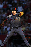 Matt Cain #18 of the San Francisco Giants pitches against the Los Angeles Angels at Angel Stadium on June 18, 2012 in Anaheim, California. San Francisco defeated Los Angeles 5-3. (Larry Goren/Four Seam Images)