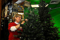NWA Media/FLIP PUTTHOFF <br /> SAMARITAN HOUSE CHRISTMAS<br /> Donna Foster assembles artificial Christmas trees on Friday Dec. 5 2014 at the Samaritan House Christmas Boutique at Frisco Station Mall in Rogers. The boutique is set up separate from the Samaritan House Thrift Store at the mall to specialize in holiday items.