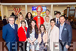 Pupils from Killahan NS Shauna Fitzgerald Scanlon and Grace Parker pictured after their confirmation in St Bernard's Church, Abbeydorney with the Bishop of Kerry Ray Browne, their sponsors, family and Board of Management on Tuesday.