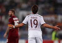 Calcio, Champions League, Gruppo E: Roma vs Bayern Monaco. Roma, stadio Olimpico, 21 ottobre 2014.<br /> Bayern's Mario Goetze celebrates after scoring during the Group E Champions League football match between AS Roma and Bayern at Rome's Olympic stadium, 21 October 2014.<br /> UPDATE IMAGES PRESS/Isabella Bonotto