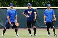 19 September 2012: France Eric Gagne is seen next to Pierrick Le Mestre and Eloi Secleppe prior to Team France friendly game won 6-3 against Palm Beach State College, during the 2012 World Baseball Classic Qualifier round, in Lake Worth, Florida, USA.