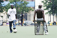 Players practice for the United States Homeless World Cup team in New York City on July 14, 2004.
