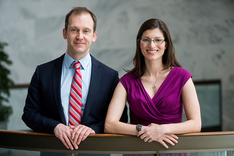 UNITED STATES - MAY 1: Bill Ghent and Emily Spain of Sen. Tom Carper's office, pose in the Hart Senate Office Building on May 1, 2014. (Photo By Bill Clark/CQ Roll Call)