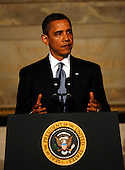 "Washington, DC - May 21, 2009 -- United States President Barack Obama delivers a major speech titled ""Protecting Our Security and Our Values"" at the National Archives Museum Rotunda, Washington, DC, Thursday, May 21, 2009.  In his speech, the President enumerated his reasons for closing the prison at Guantanamo Bay by saying it ""likely created more terrorists around the world than it ever detained""..Credit: Aude Guerrucci - Pool via CNP"