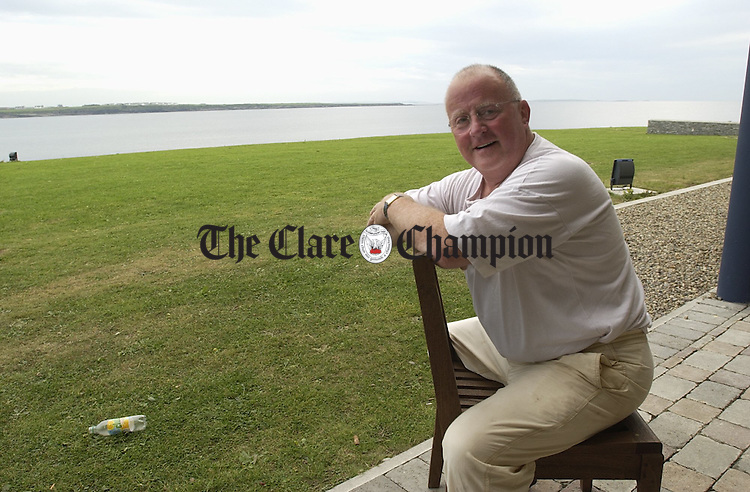 Christy Moore relaxes before his performance at the Armada hotel in Spanish Point. Photograph by John Kelly.
