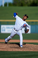 Mesa Solar Sox relief pitcher Pedro Araujo (51), of the Chicago Cubs organization, delivers a pitch to the plate during an Arizona Fall League game against the Glendale Desert Dogs on October 28, 2017 at Sloan Park in Mesa, Arizona. The Solar Sox defeated the Desert Dogs 9-6. (Zachary Lucy/Four Seam Images)