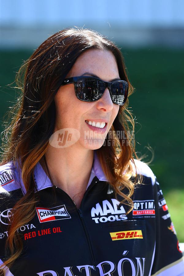Jun. 1, 2014; Englishtown, NJ, USA; NHRA funny car driver Alexis DeJoria during the Summernationals at Raceway Park. Mandatory Credit: Mark J. Rebilas-