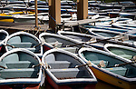 Pleasure boats are lined up on the lake inside Inokashira Park in the  trendy neighborhood of Kichijoji in Musashino City,  Tokyo, Japan on 16 Sept. 2012.  Photographer: Robert Gilhooly