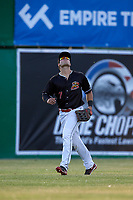 Batavia Muckdogs left fielder Michael Donadio (7) tracks a fly ball during a game against the West Virginia Black Bears on June 20, 2018 at Dwyer Stadium in Batavia, New York.  West Virginia defeated Batavia 4-3.  (Mike Janes/Four Seam Images)