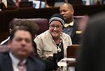 Nevada Sen. Debbie Smith, D-Sparks, listens to floor debate on the Senate floor at the Legislative Building in Carson City, Nev., on Tuesday, April 21, 2015. <br /> Photo by Cathleen Allison