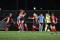 Piscataway, NJ, May 7, 2016.  Players from the Western New York Flash congratulate Samantha Mewis (5) after she scored their second goal of the game.  The Western New York Flash defeated Sky Blue FC, 2-1, in a National Women's Soccer League (NWSL) match at Yurcak Field.