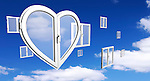Conceptual stock photo-illustration of a Heart-shaped PVC window in front of many conventional square windows over blue cloudy sky background Creative window system design Home renovation Environmental construction industry Interior design