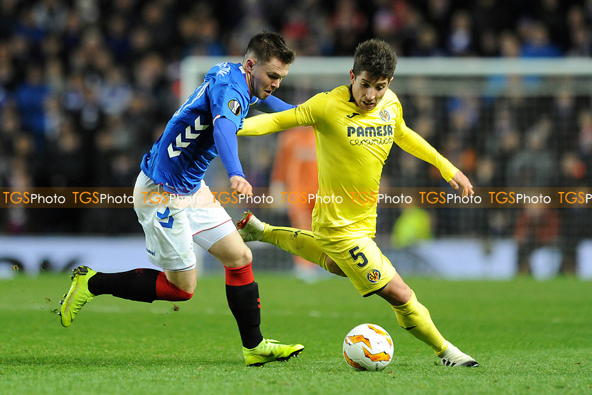 Glenn Middleton of Rangers battles for the ball with Santiago Caseres of Villarreal CF during Rangers vs Villarreal CF, UEFA Europa League Football at Ibrox Stadium on 29th November 2018