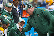 Landover, MD - September 23, 2018: Green Bay Packers head coach Mike McCarthy talks to his players during the  game between Green Bay Packers and Washington Redskins at FedEx Field in Landover, MD.   (Photo by Elliott Brown/Media Images International)