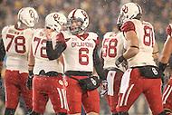 Morgantown, WV - November 19, 2016: Oklahoma Sooners quarterback Baker Mayfield (6) in action during game between Oklahoma and WVU at  Mountaineer Field at Milan Puskar Stadium in Morgantown, WV.  (Photo by Elliott Brown/Media Images International)