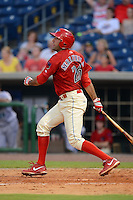 Clearwater Threshers first baseman Chris Serritella (26) during a game against the Jupiter Hammerheads July 21, 2013 at Bright House Field in Clearwater, Florida.  Jupiter defeated Clearwater 1-0.  (Mike Janes/Four Seam Images)