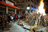Pictured: The Tzamala tradition in which locals dance around a pyre is celebrated in Ioannina, northern Greece.  Monday 19 February 2018<br /> Re: Celebration for Clean Monday (Monday of Lent) which marks 40 days before the celebration of Easter according to the Orthodox Religion, Greece