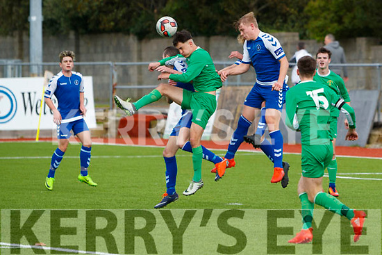 Martin Coughlan Kerry in Action against Edmound O'Dwyer Limerick U17 Soccer at Mounthawk Park on Sunday.
