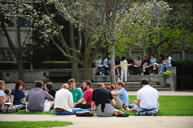 Class outside O'Shaugnessy Hall in spring